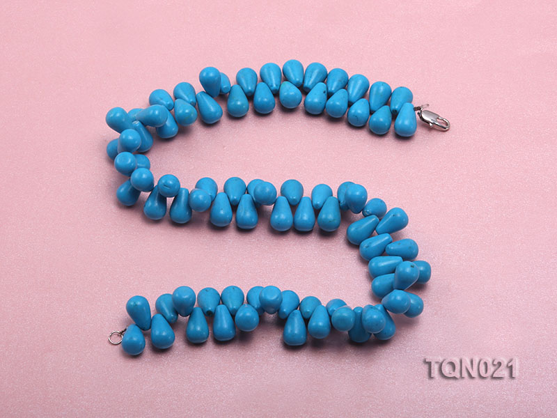 double-strand 12x18mm blue drop shape Turquoise Necklace big Image 3