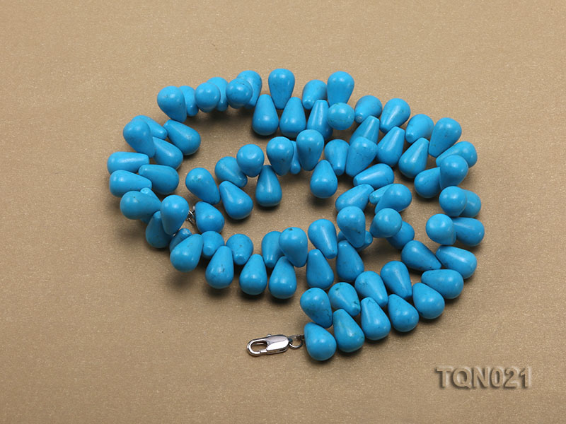 double-strand 12x18mm blue drop shape Turquoise Necklace big Image 4