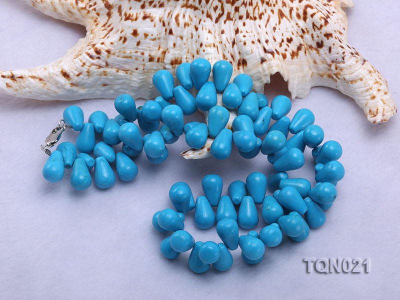 double-strand 12x18mm blue drop shape Turquoise Necklace big Image 5