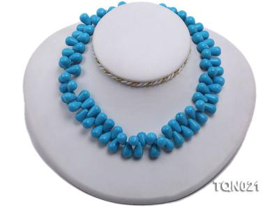 double-strand 12x18mm blue drop shape Turquoise Necklace TQN021 Image 2