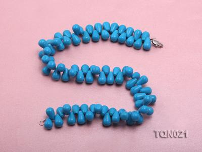 double-strand 12x18mm blue drop shape Turquoise Necklace TQN021 Image 3