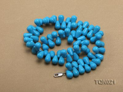 double-strand 12x18mm blue drop shape Turquoise Necklace TQN021 Image 4