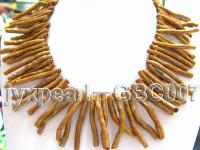 40-50mm Tooth-Shaped Golden Coral Necklace  GBC007