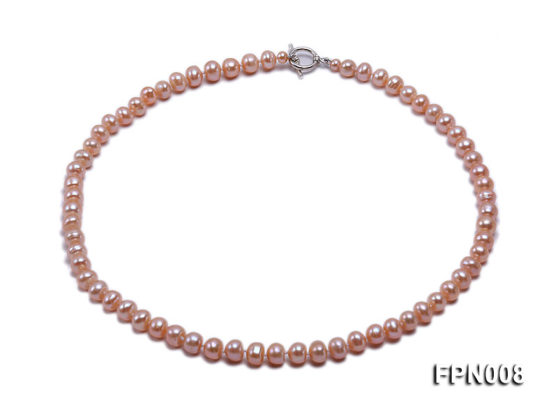 Classic 7-8mm Pink Flat Cultured Freshwater Pearl Necklace big Image 1
