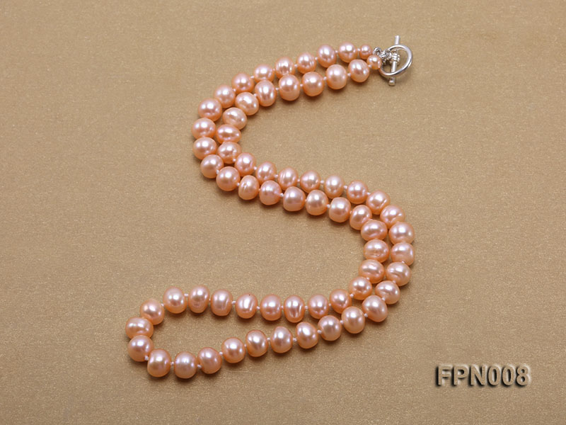 Classic 7-8mm Pink Flat Cultured Freshwater Pearl Necklace big Image 2
