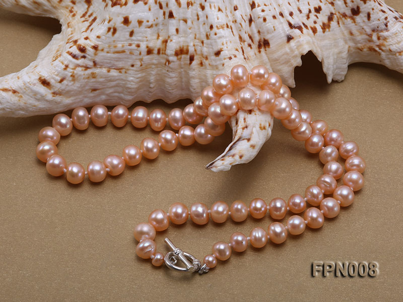 Classic 7-8mm Pink Flat Cultured Freshwater Pearl Necklace big Image 3