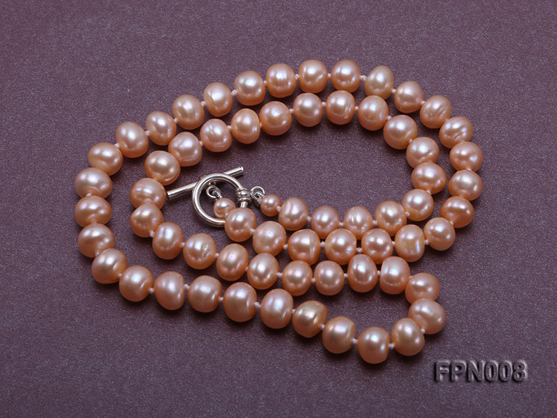 Classic 7-8mm Pink Flat Cultured Freshwater Pearl Necklace big Image 4