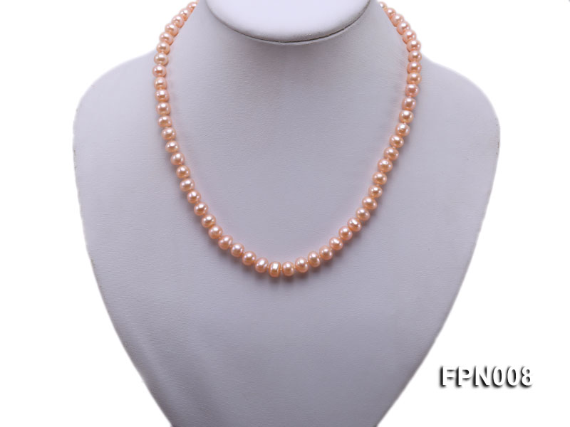 Classic 7-8mm Pink Flat Cultured Freshwater Pearl Necklace big Image 5