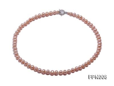 Classic 7-8mm Pink Flat Cultured Freshwater Pearl Necklace FPN008 Image 1
