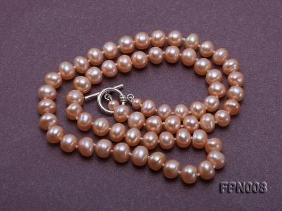 Classic 7-8mm Pink Flat Cultured Freshwater Pearl Necklace FPN008 Image 4