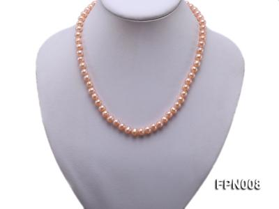 Classic 7-8mm Pink Flat Cultured Freshwater Pearl Necklace FPN008 Image 5