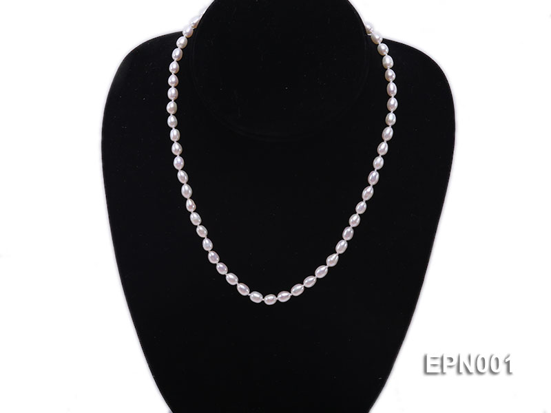 5-6mm Classic White Elliptical Pearl Necklace big Image 2