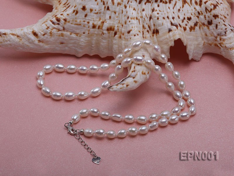 5-6mm Classic White Elliptical Pearl Necklace big Image 3