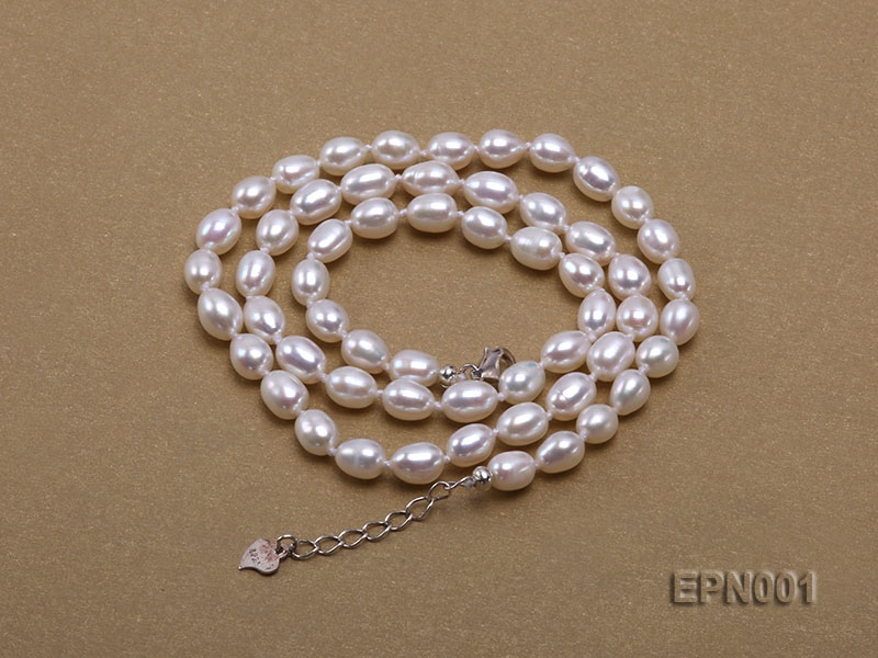 5-6mm Classic White Elliptical Pearl Necklace big Image 5