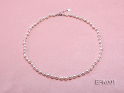 5-6mm Classic White Elliptical Pearl Necklace EPN001 Image 1
