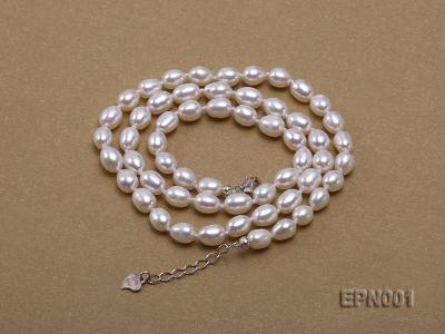 5-6mm Classic White Elliptical Pearl Necklace EPN001 Image 5