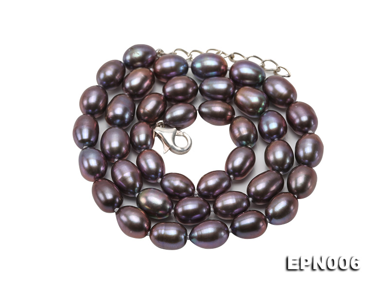 7-7.5mm Elliptical Black Freshwater Pearl Necklace  big Image 1