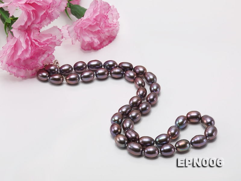 7-7.5mm Elliptical Black Freshwater Pearl Necklace  big Image 5
