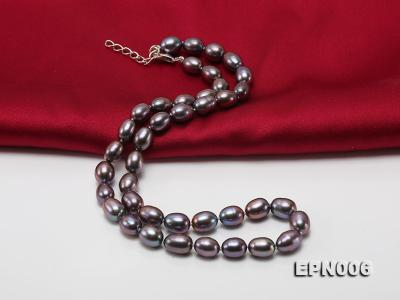 7-7.5mm Elliptical Black Freshwater Pearl Necklace  EPN006 Image 3