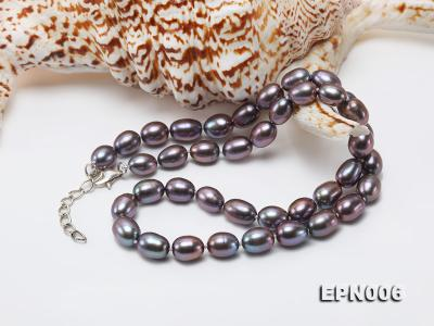 7-7.5mm Elliptical Black Freshwater Pearl Necklace  EPN006 Image 4