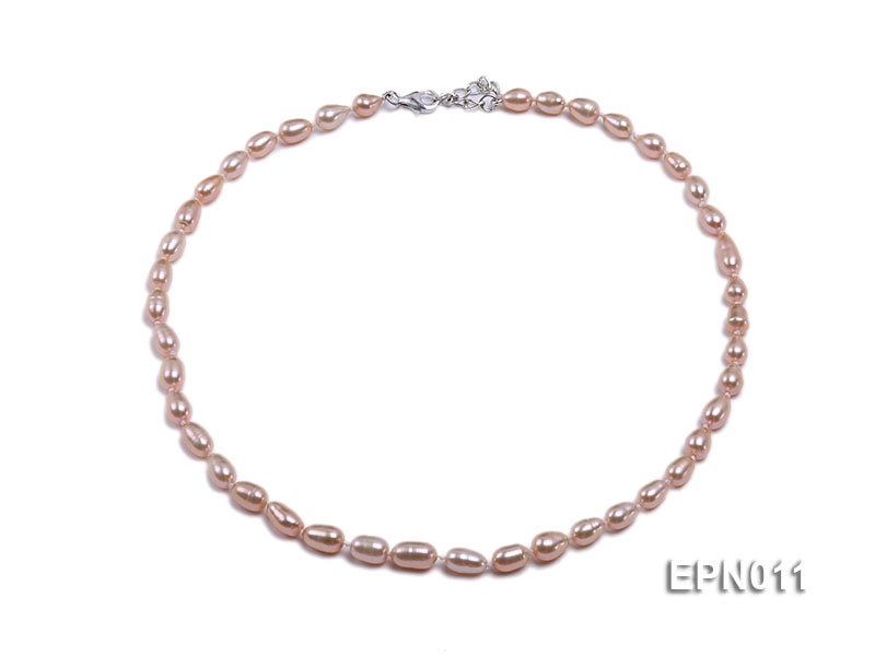 7-8mm Elliptical Pink Freshwater Pearl Necklace  big Image 1