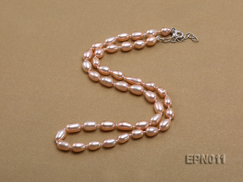 7-8mm Elliptical Pink Freshwater Pearl Necklace  big Image 2
