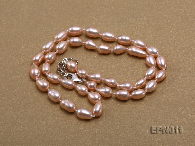7-8mm Elliptical Pink Freshwater Pearl Necklace  big Image 3