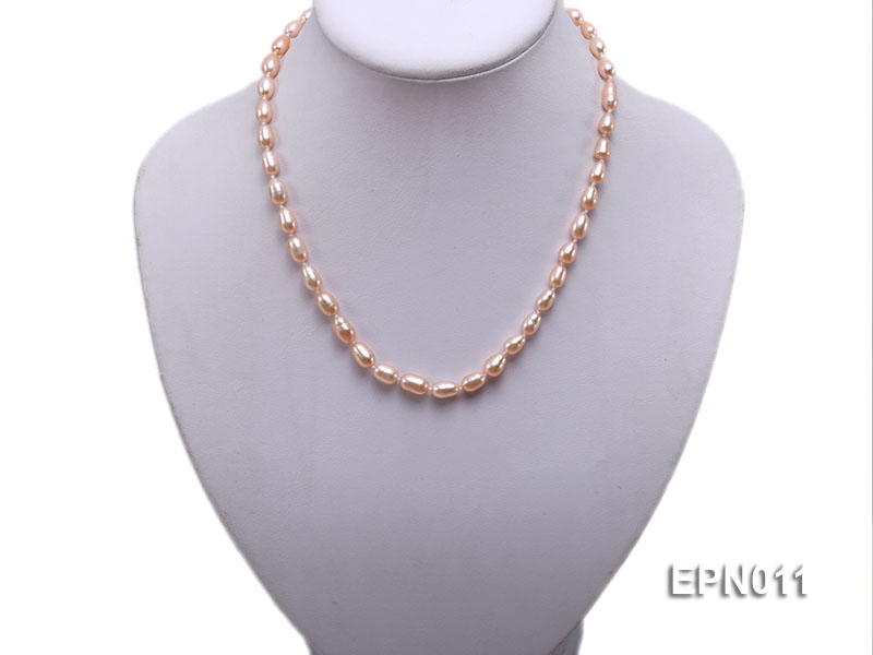 7-8mm Elliptical Pink Freshwater Pearl Necklace  big Image 5