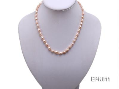 7-8mm Elliptical Pink Freshwater Pearl Necklace  EPN011 Image 5
