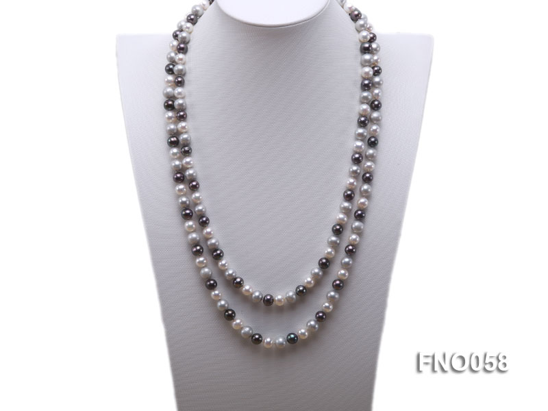 8-9m white grey and black round freshwater pearl necklace big Image 1