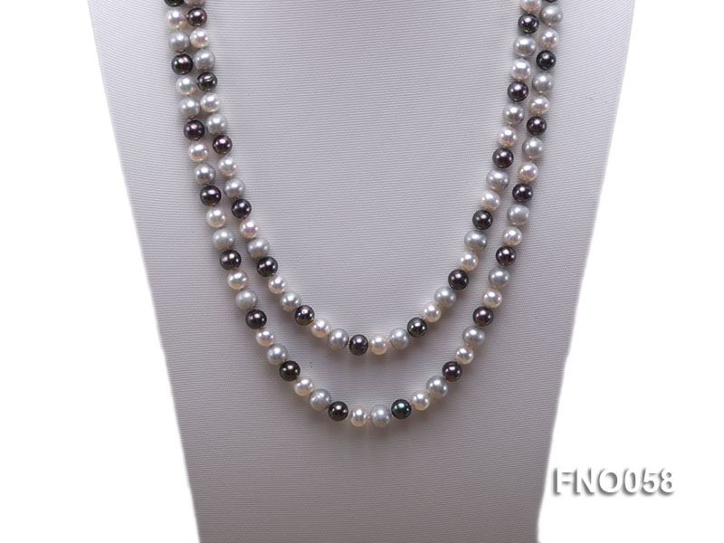 8-9m white grey and black round freshwater pearl necklace big Image 2