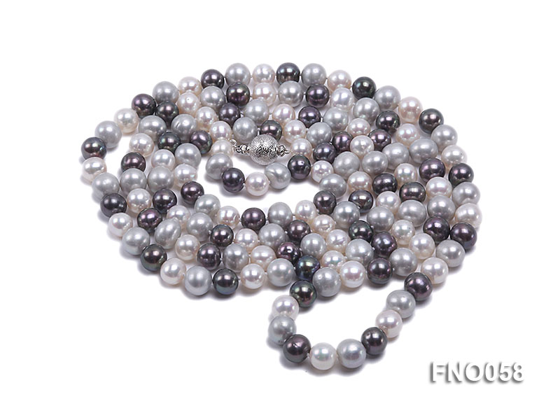 8-9m white grey and black round freshwater pearl necklace big Image 3