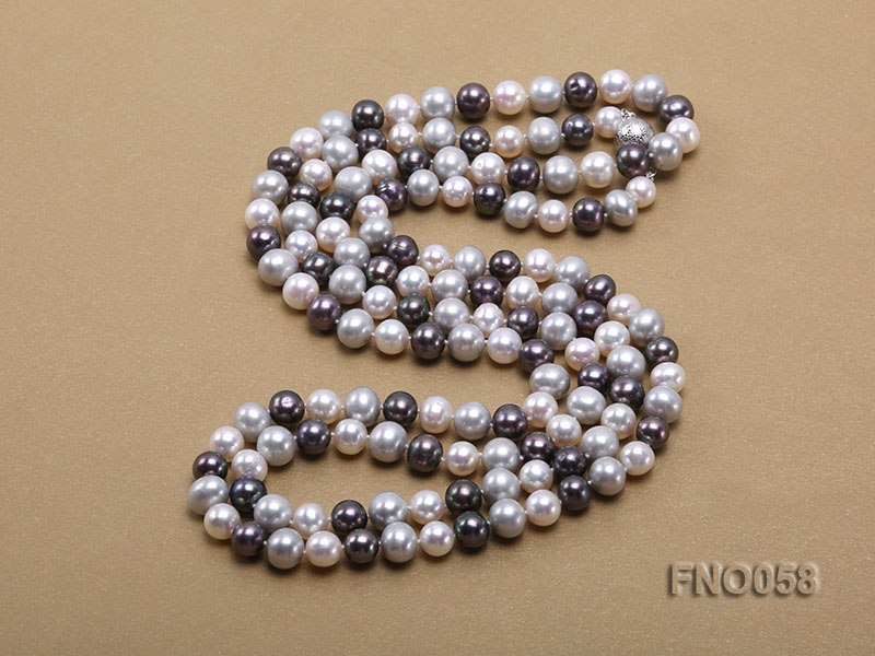 8-9m white grey and black round freshwater pearl necklace big Image 4