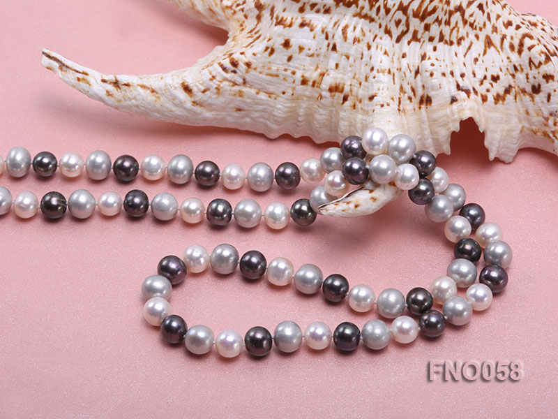 8-9m white grey and black round freshwater pearl necklace big Image 5