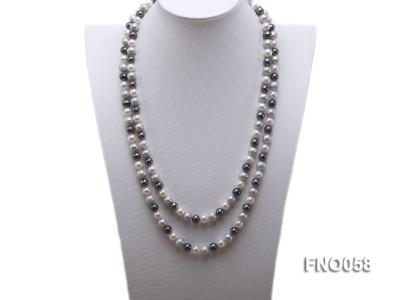8-9m white grey and black round freshwater pearl necklace FNO058 Image 1