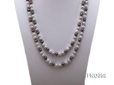 8-9m white grey and black round freshwater pearl necklace FNO058 Image 2