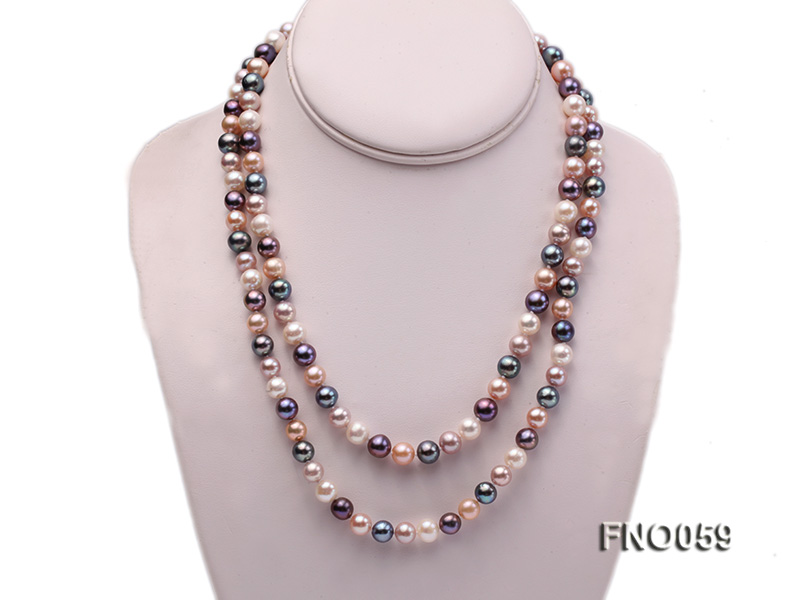 8-9mm multicolor round freshwater pearl necklace big Image 1