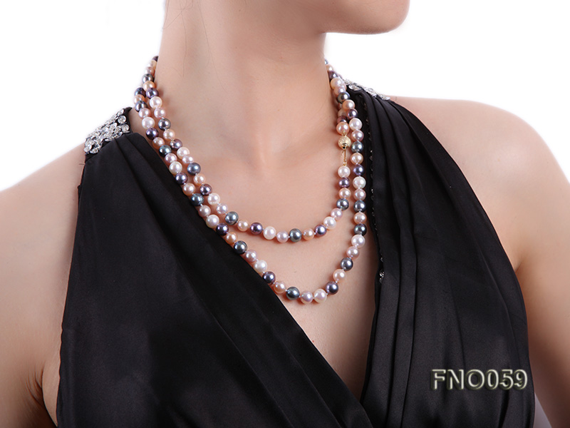 8-9mm multicolor round freshwater pearl necklace big Image 6