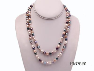 8-9mm multicolor round freshwater pearl necklace FNO059 Image 1