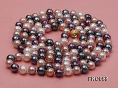 8-9mm multicolor round freshwater pearl necklace FNO059 Image 3