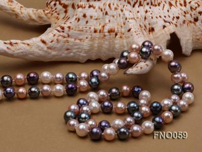 8-9mm multicolor round freshwater pearl necklace FNO059 Image 4