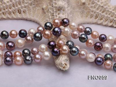 8-9mm multicolor round freshwater pearl necklace FNO059 Image 5
