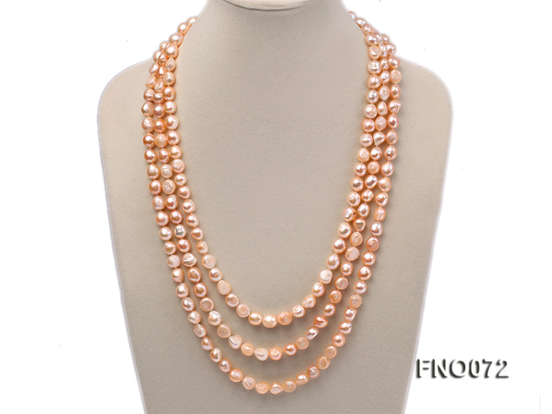 10-11mm natural pink baroque freshwater pearl necklace big Image 1