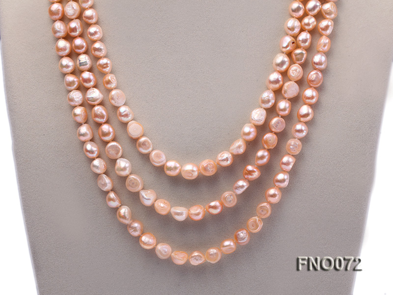 10-11mm natural pink baroque freshwater pearl necklace big Image 2
