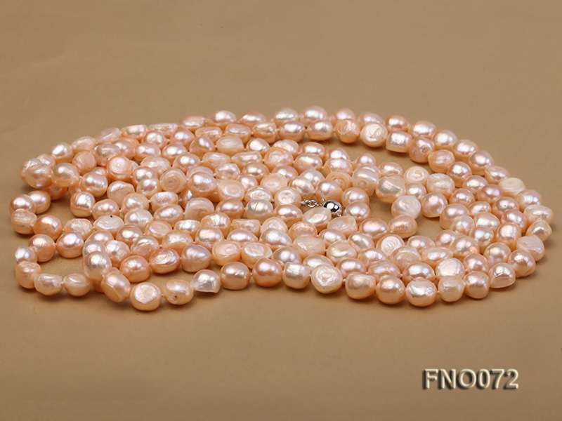 10-11mm natural pink baroque freshwater pearl necklace big Image 3