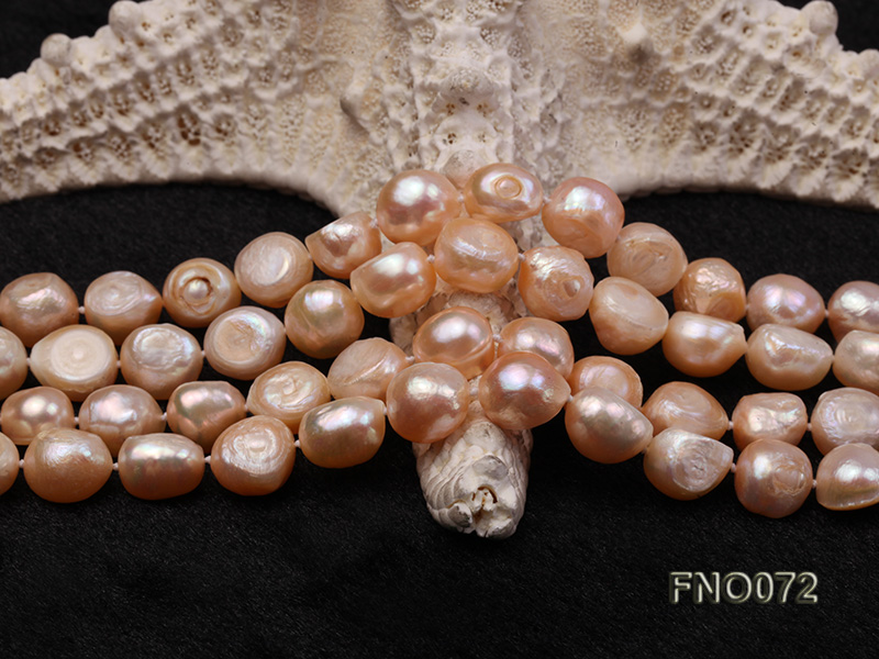 10-11mm natural pink baroque freshwater pearl necklace big Image 4