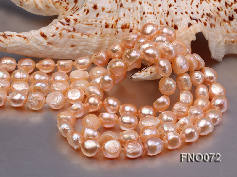 10-11mm natural pink baroque freshwater pearl necklace big Image 5