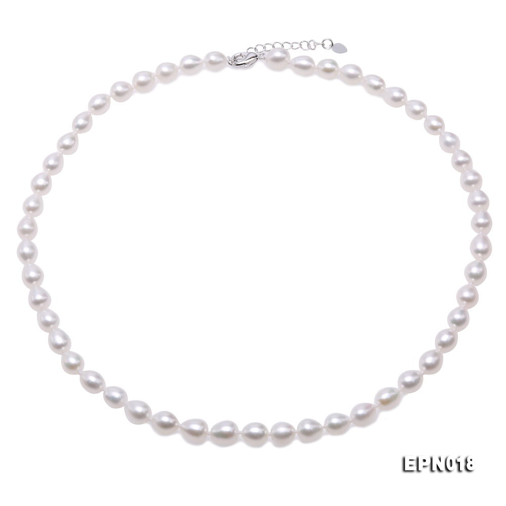 7.5-8.5mm Elliptical White Freshwater Pearl Necklace  big Image 1