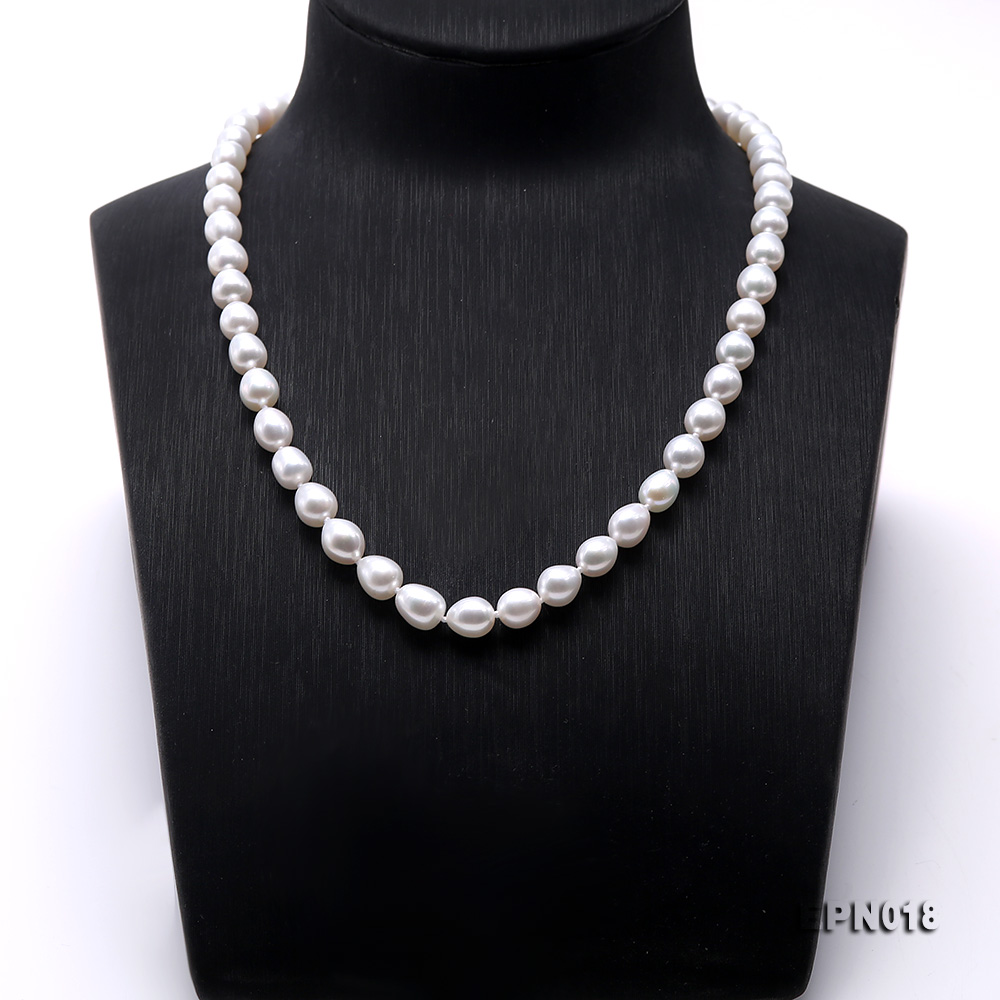 7.5-8.5mm Elliptical White Freshwater Pearl Necklace  big Image 2