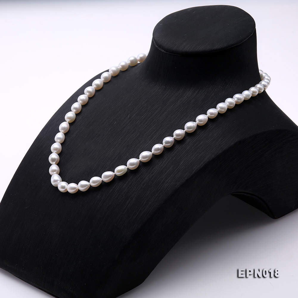 7.5-8.5mm Elliptical White Freshwater Pearl Necklace  big Image 3